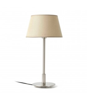 1 Light Table Lamp Nickel with Beige Shade