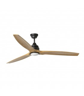 Dark Brown And Wood Large Ceiling Fan With LED Light