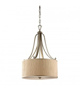 3 Light Cylindrical Ceiling Pendant Silver Sand with Shade, E27