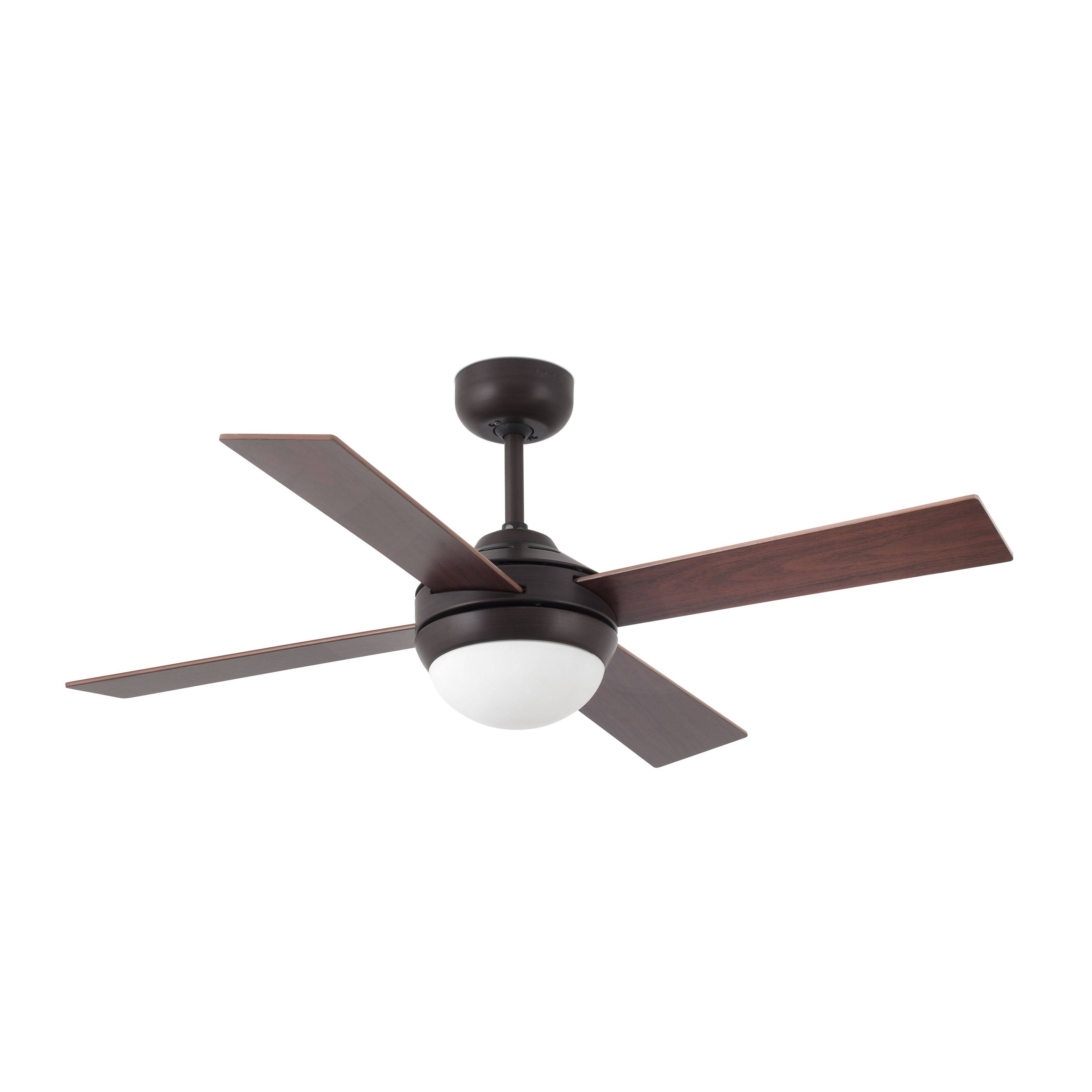 2 Light Small Ceiling Fan Wood Rust With Light