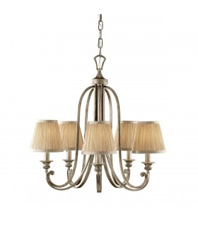 5 Light Multi Arm Chandelier Silver Sand Finish