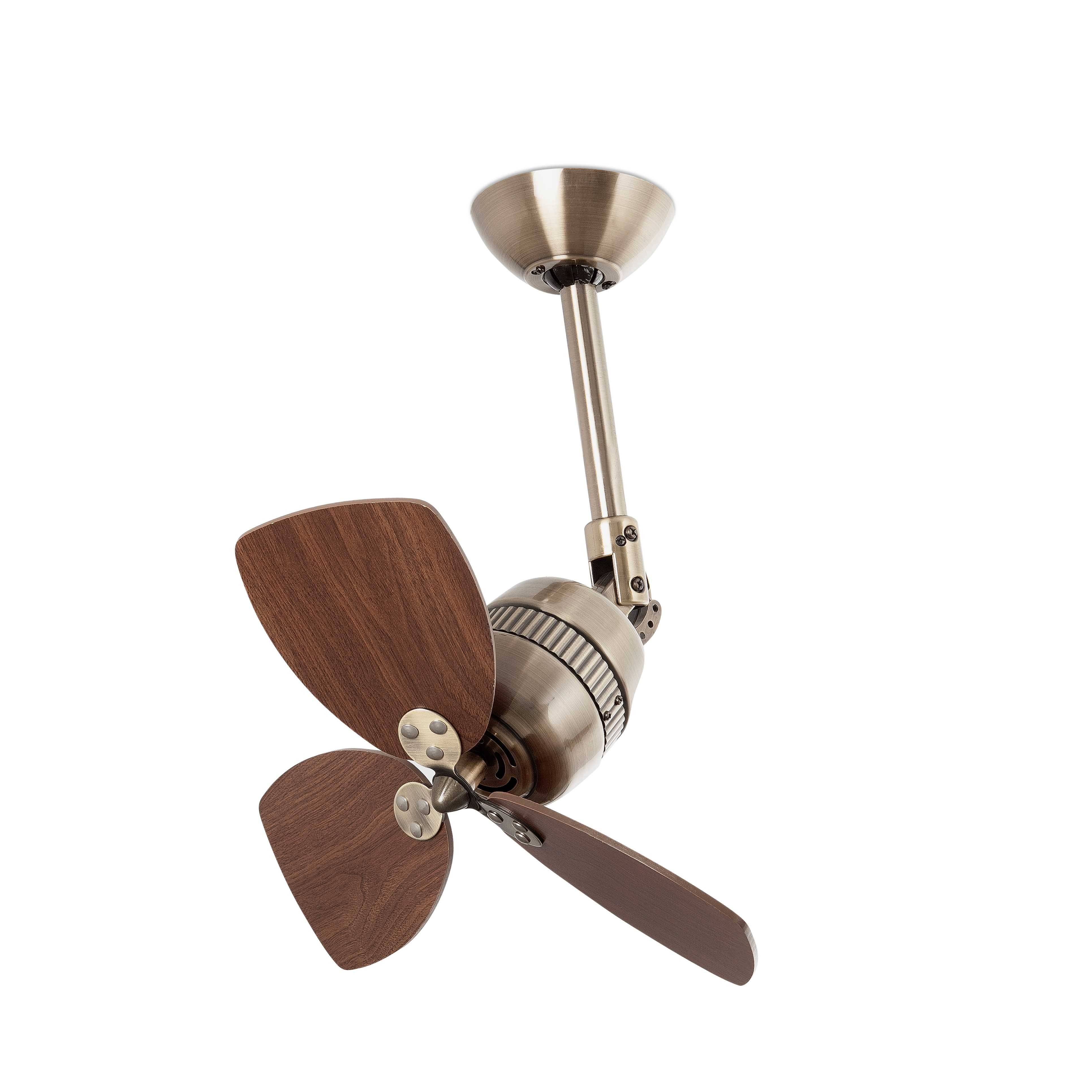 Small Ceiling Fan Without Light Antique Brass Walnut
