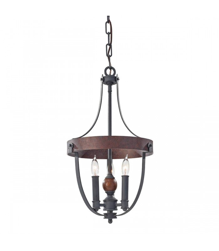 3 Light Ceiling Chandelier Pendant Light Antique Forged Iron, Acorn Wood, Charcoal