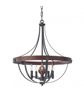 5 Light Ceiling Chandelier Pendant Light Antique Forged Iron, Acorn Wood, Charcoal