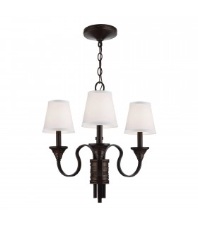 Chandelier Multi Arm 3 Light Weathered Brass, Bronze Finish, E14