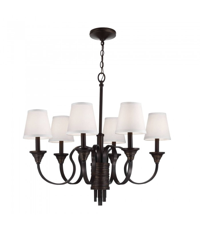 6 Light Multi Arm Chandelier Weathered Brass, Bronze Finish, E14