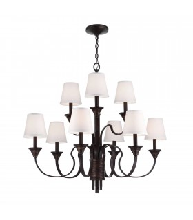 9 Light Multi Arm Chandelier Weathered Brass, Bronze Finish, E14