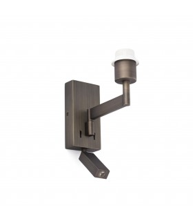 1 Light Indoor Reading Wall Light Bronze - Shade Not Included, E27