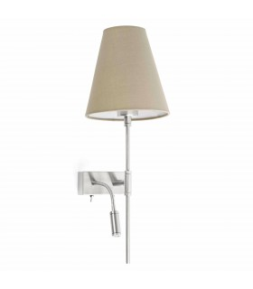 1 Light Indoor Wall Light Nickel, Beige with Reading Lamp - Right Side