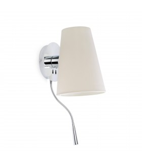 1 Light Indoor Wall Light Chrome, White with Reading Lamp