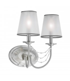 2 Light Indoor Candle Wall Light Brushed Steel