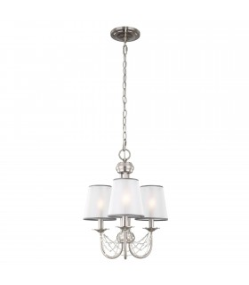Chandelier 3 Light Brushed Steel Finish