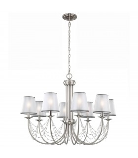 8 Light Chandelier Brushed Steel Finish