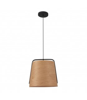 1 Light Ceiling Pendant Black And Cherry Wood