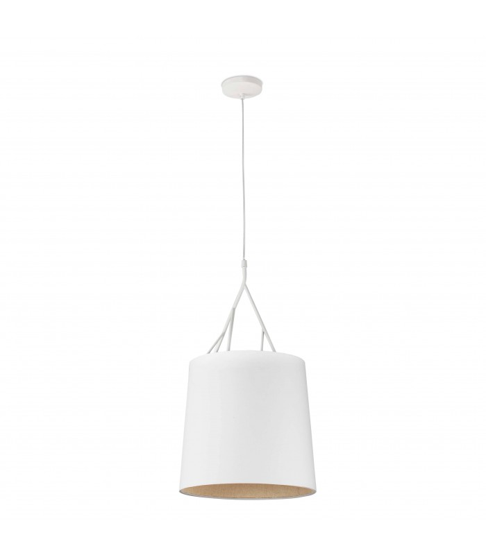 1 Light Ceiling Pendant White with Shade