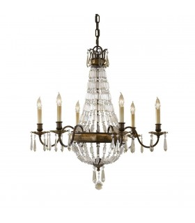 6 Light Chandelier British Bronze Finish, E14