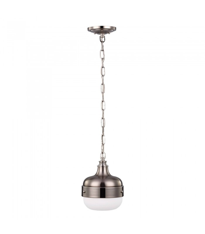 1 Light Dome Ceiling Mini Pendant Polished Nickel, Brushed Steel, E27