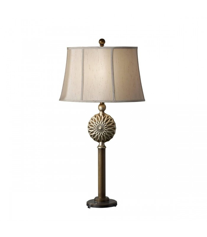 1 Light Table Lamp Silver Leaf Patina, Firenze Gold