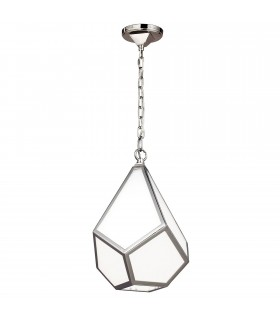 1 Light Small Ceiling Pendant Polished Nickel
