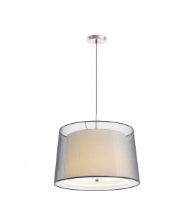 3 Light Ceiling Pendant Satin Nickel with Double Shade