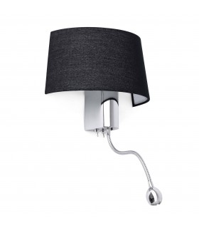 1 Light Indoor Wall Light Black Chrome with Reading Lamp, E27