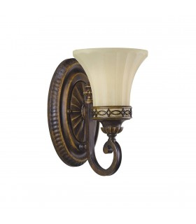1 Light Wall Light Walnut Glass Shade