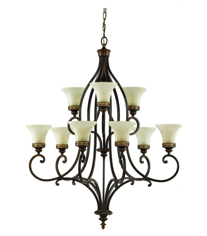 9 Light Multi Arm Chandelier Walnut Finish, E27