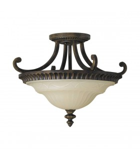 2 Light Ceiling Semi Flush Light Walnut