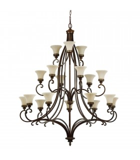 18 Light Multi Arm Chandelier Walnut Finish, E27