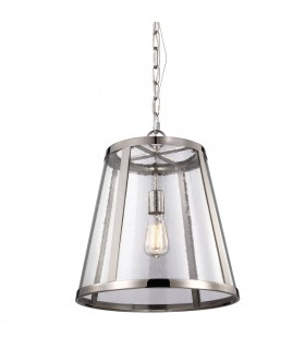 1 Light Medium Ceiling Pendant Polished Nickel, E27