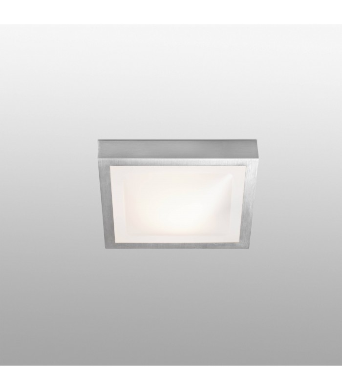 1 Light Small Square Bathroom Flush Ceiling Light Aluminium, White IP44