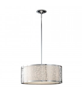 3 Light Large Cylindrical Ceiling Pendant Chrome, E27