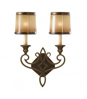 2 Light Indoor Wall Light Bronze with Oak Glass Shades