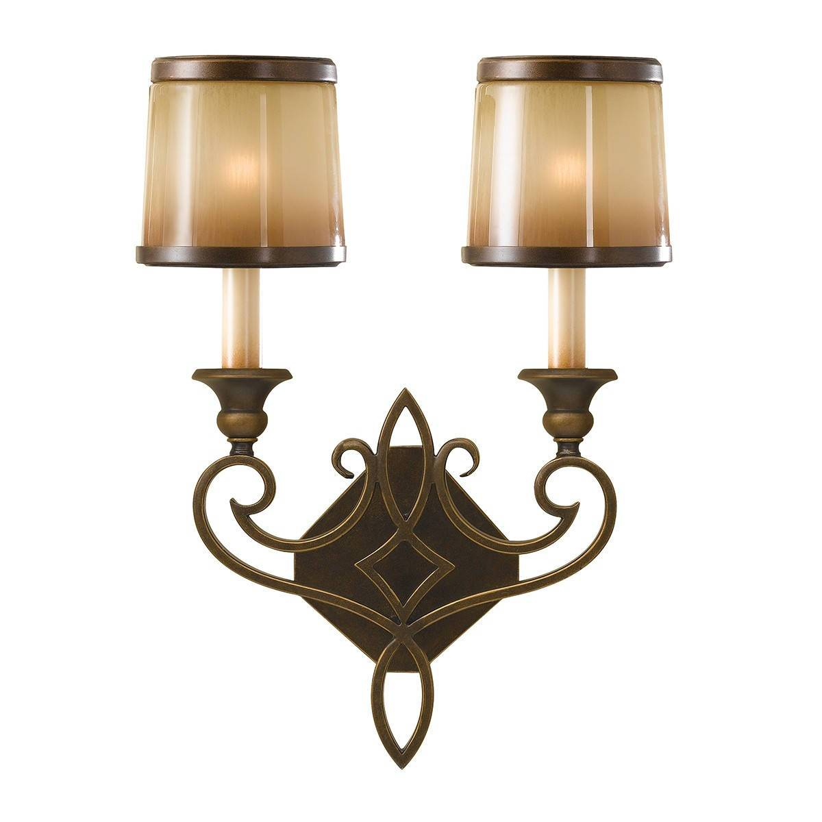 2 Light Indoor Candle Wall Light Bronze With Oak Glass Shades, E14
