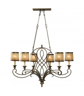 6 Light Chandelier Bronze Finish