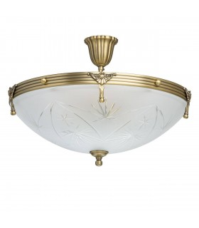 5 Light Semi Flush Ceiling Light White, Brass with Matt Glass Shade
