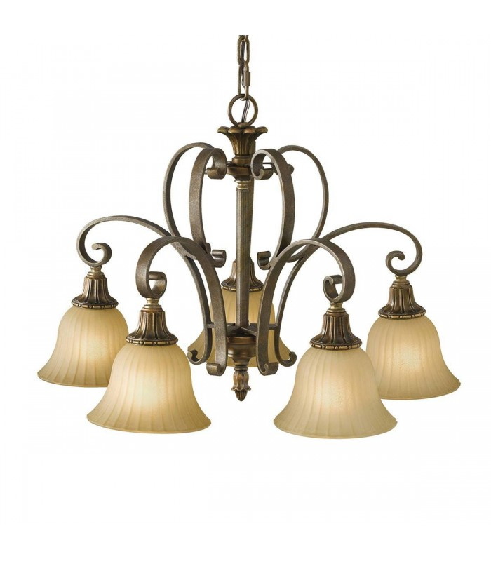 5 Light Multi Arm Chandelier Bronze, Gold Finish, E27