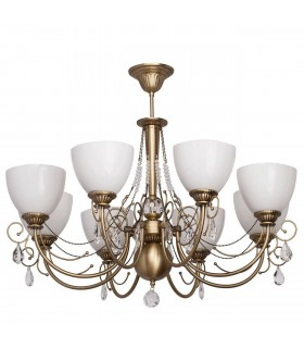 Antique Brass Eight Light Semi-Flush Fitting With White Glass And Crystals