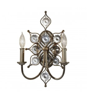 2 Light Indoor Candle Wall Light Burnished Silver