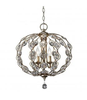 Multi Arm Chandelier 3 Light Polished Silver Finish
