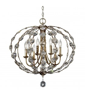 6 Light Chandelier Polished Silver Finish