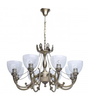 Antique Brass Eight Light Chandelier With Icy Glass