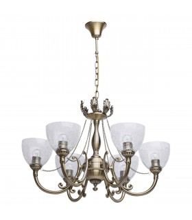 Antique Brass Six Light Chandelier With Icy Glass
