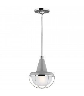 1 Light Ceiling Mini Pendant Polished Nickel, Grey