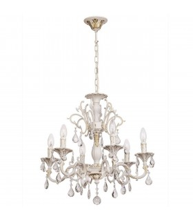 White Six Light Chandelier With Gold Detail And Crystals
