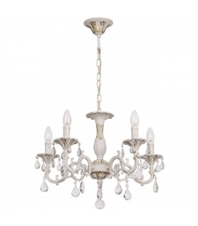 White Five Light Chandelier With Gold Detail And Crystals
