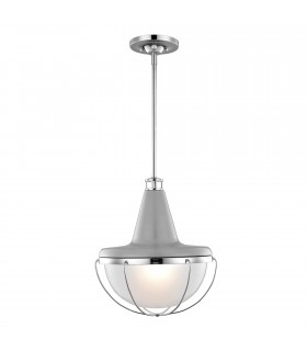 1 Light Ceiling Pendant Polished Nickel, Grey