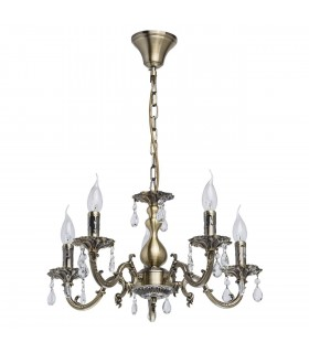 Antique Brass Five Light Chandelier With Crystals