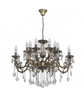 Antique Brass Sixteen Light Chandelier With Crystals