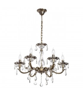 Antique Brass Six Light Chandelier With Glass And Crystals
